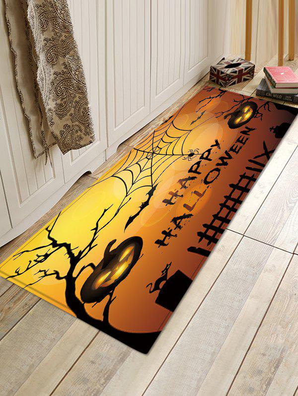 Halloween Pumpkin Forest  Print Absorption Floor Mat - PUMPKIN ORANGE W16 INCH * L47 INCH