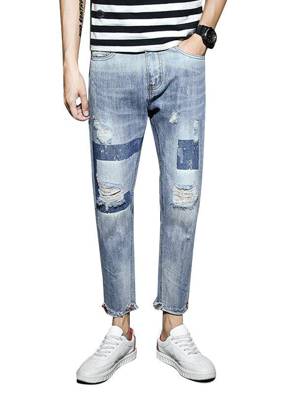 Ripped Geometric Print Light Wash Jeans - CRYSTAL BLUE 38