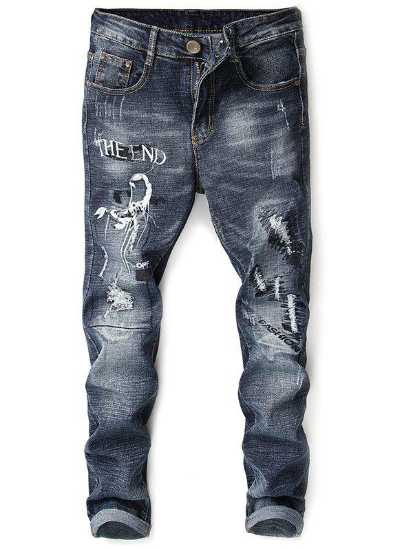 Zip Fly Distressed Embroidery Scorpion Jeans - BLACK COW 38