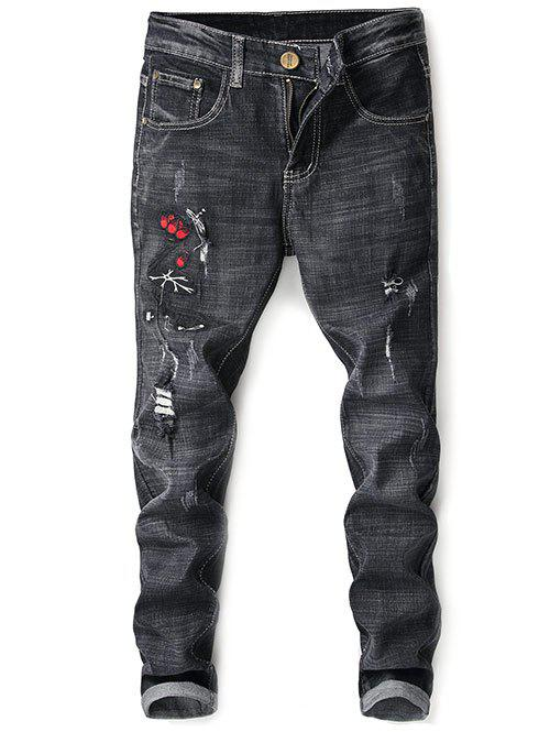 Zip Fly Distressed Lotus Embroidery Jeans - BLACK 38
