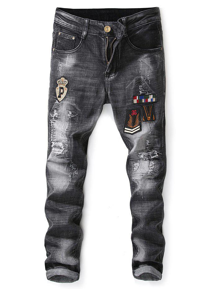 Badge Applique Embellished Ripped Jeans - BLACK 38