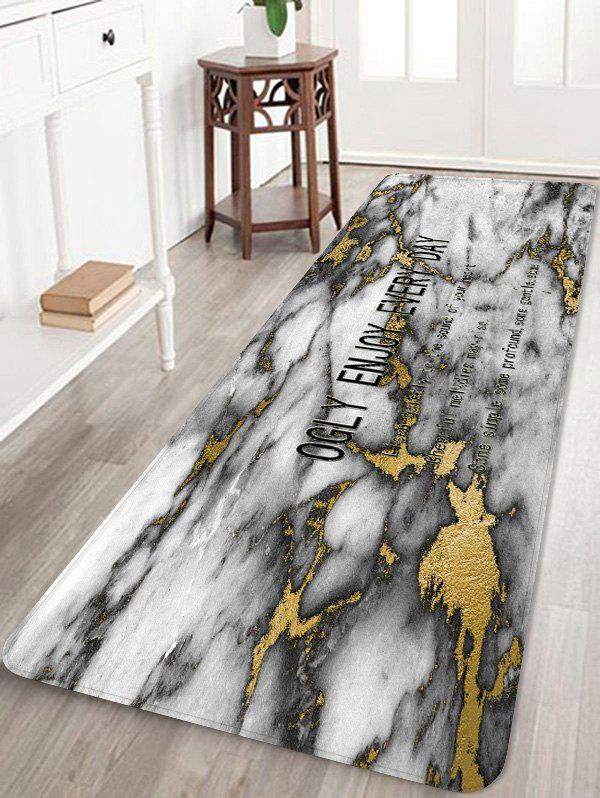 Opalized Marble Letter Print Anti-skid Floor Mat - WHITE W24 INCH * L71 INCH