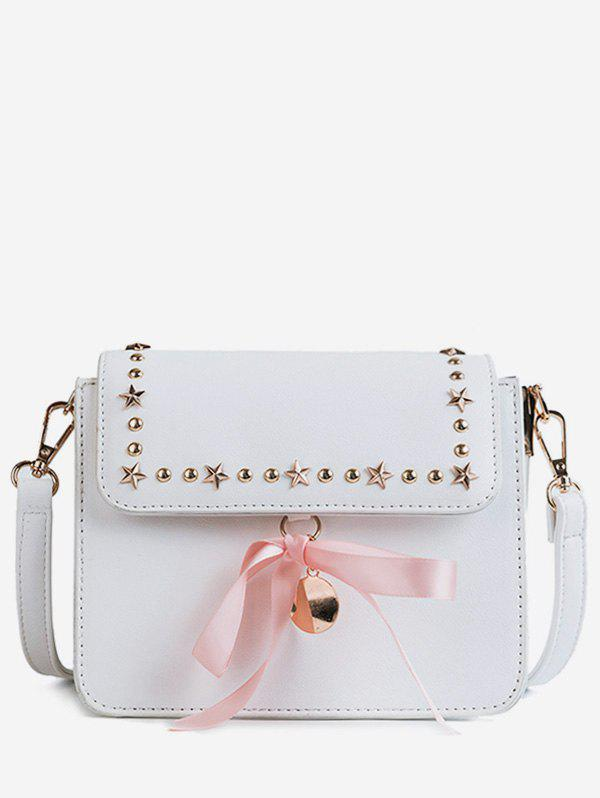 Bowknot Flapped Chic Studded Corssbody Bag - WHITE