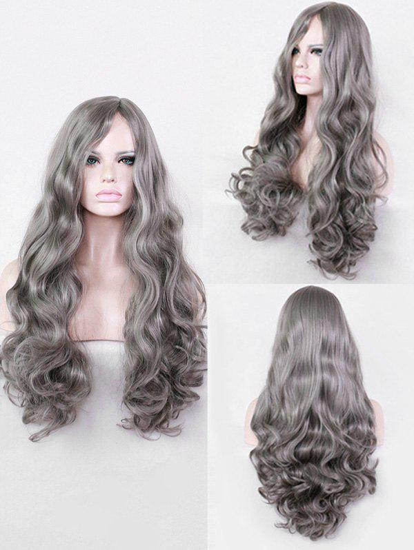 Long Length Side Parting Wavy Cosplay Synthetic Wig - GRAY