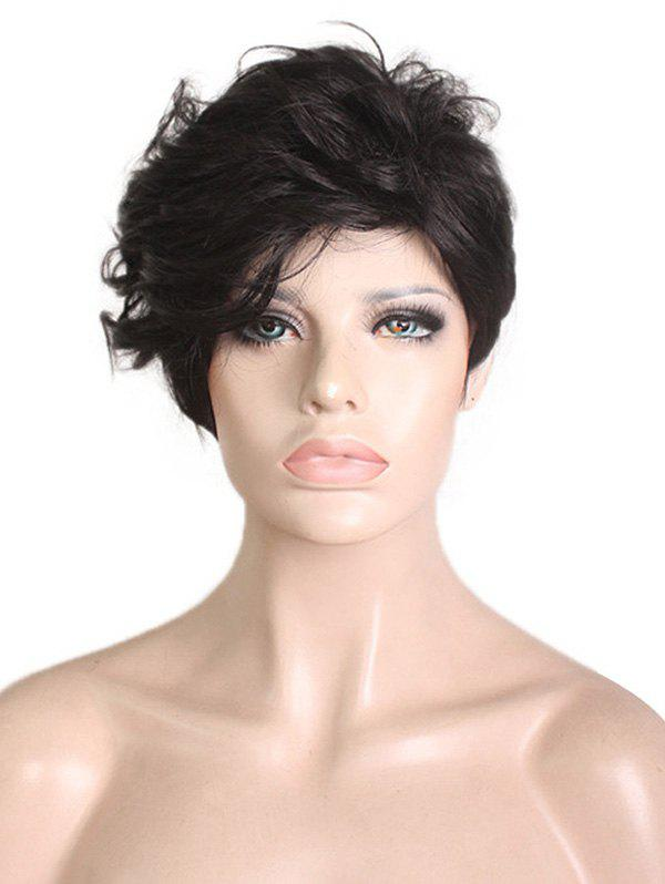 Inclined Bang Slightly Curly Short Pixie Synthetic Wig - BLACK