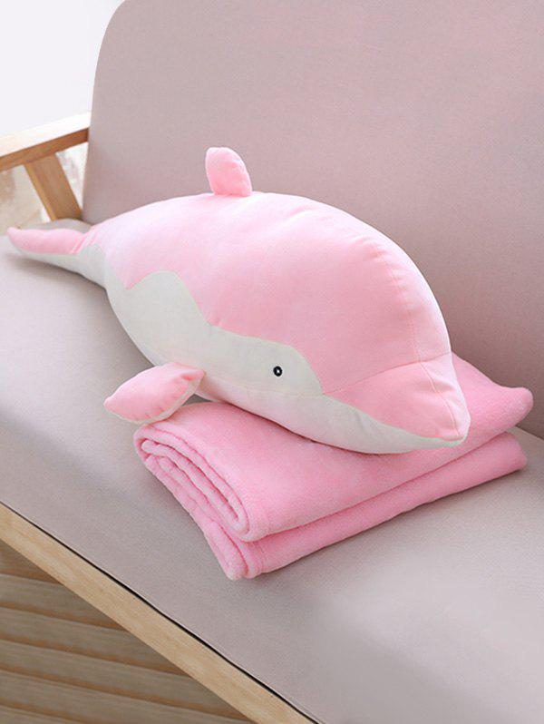 Dolphin Shape Plush Toy with Blanket - PINK