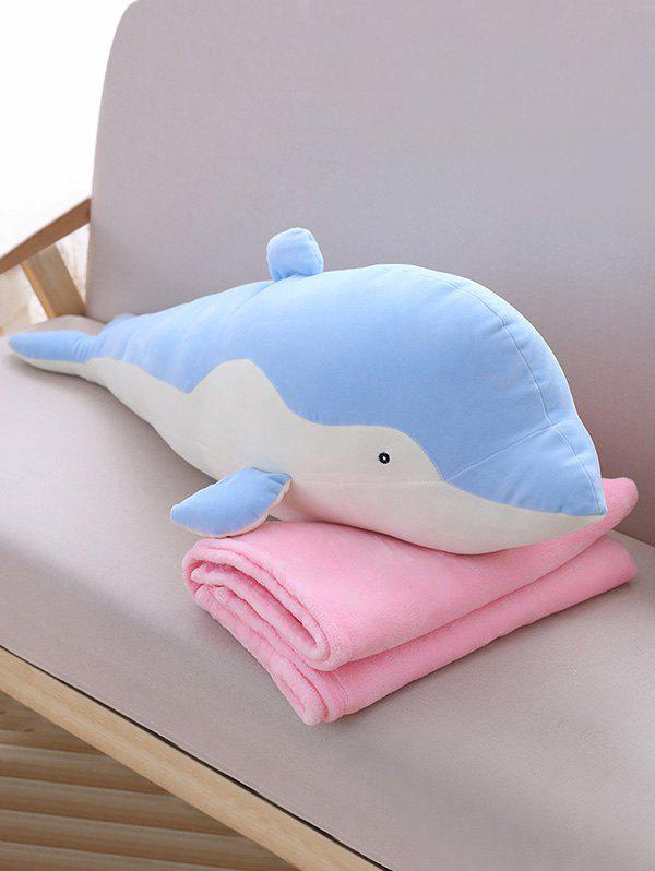 Dolphin Shape Plush Toy with Blanket - BLUE