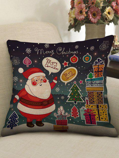 Santa Claus Christmas Print Linen Sofa Pillowcase - multicolor W18 INCH * L18 INCH