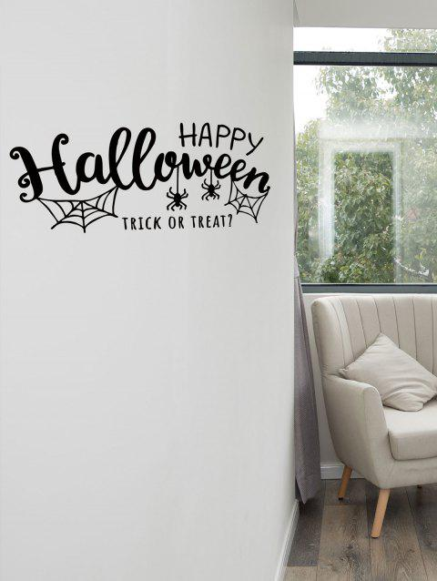 Happy Halloween Spider Print Wall Art Sticker - BLACK
