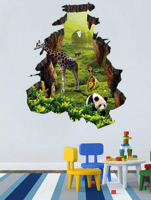 Natural Forest Animal Home Pattern Wall Sticker - GREEN