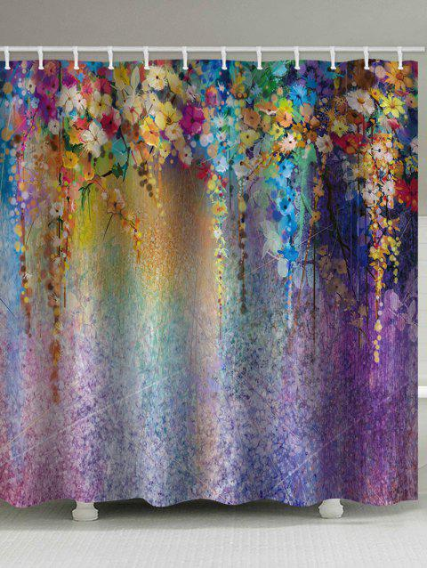 Flower Pattern Waterproof Bath Curtain - multicolor W65 INCH * L71 INCH