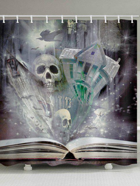Skull Castle Book Print Waterproof Shower Curtain - multicolor W65 INCH * L71 INCH