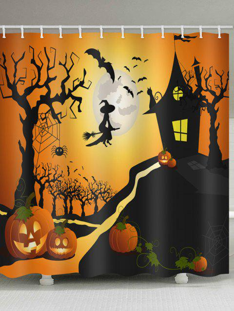 Halloween Night Castle Print Waterproof Shower Curtain - BLACK W71 INCH * L79 INCH