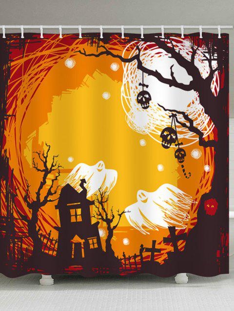 Halloween Castle Night Print Waterproof Shower Curtain - multicolor W71 INCH * L71 INCH