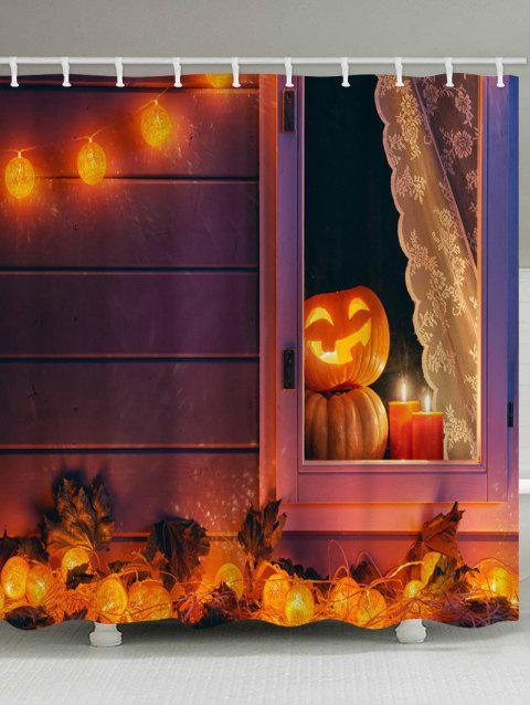 Halloween Pumpkin Lamp Print Waterproof Shower Curtain - HALLOWEEN ORANGE W59 INCH * L71 INCH
