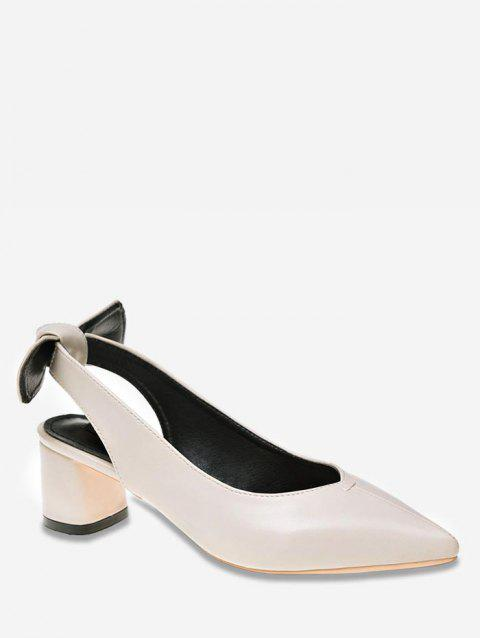 Chunky Heel Bowknot Slingback Pointed Toe Pumps - BEIGE 38