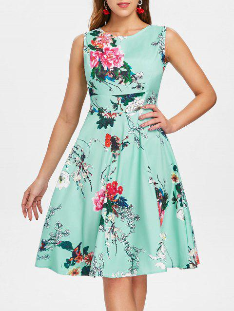 Print Fit and Flare Vintage Dress - BLUE GREEN XL