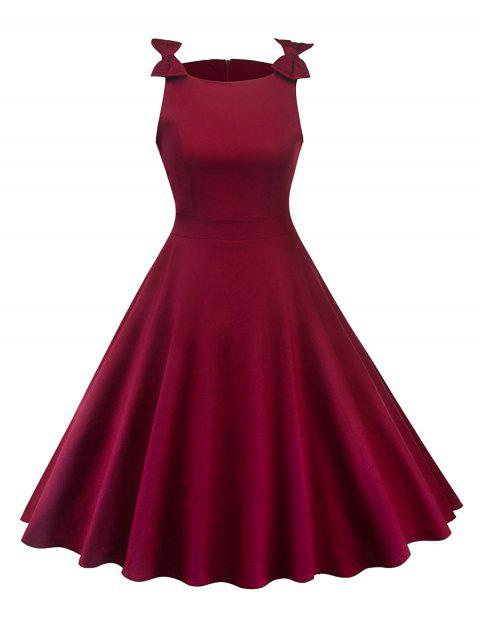 Round Neck Bowknot Insert Retro Dress - RED WINE M