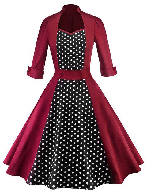 Sweetheart Neck Polka Dot Insert Vintage Dress - RED WINE L