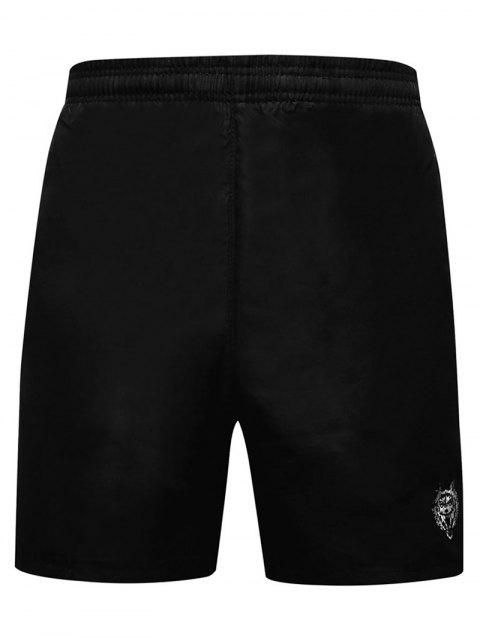 Embroidery Wolf Head Elastic Waist Beach Shorts - PLATINUM S