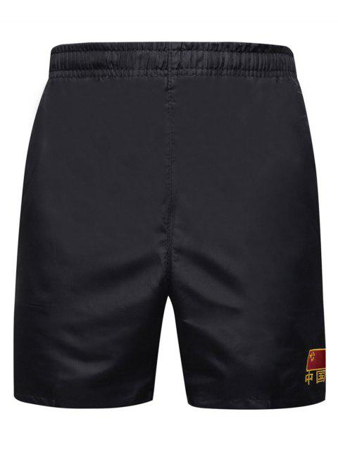 Embroidery Chinese Flag Elastic Waist Board Shorts - BLACK S