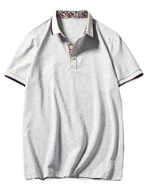 Flower Print Panel Stripe Trim Polo T-shirt - LIGHT GRAY L