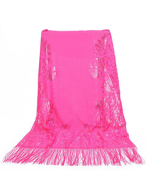 Hollow Out Floral Lace Long Scarf - ROSE RED