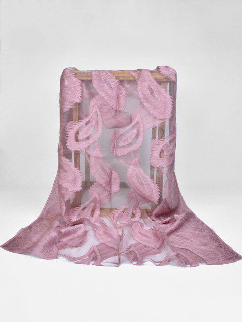 Elegant Feather Embellished Long Sheer Scarf - MAUVE