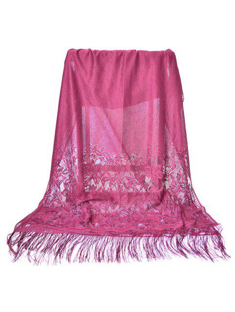Floral Lace Fringed Silky Long Scarf - PALE VIOLET RED