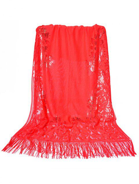 Hollow Out Floral Lace Long Scarf - FIRE ENGINE RED