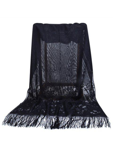 Floral Lace Fringed Silky Long Scarf - BLACK