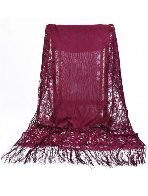Hollow Out Floral Lace Long Scarf - MAROON