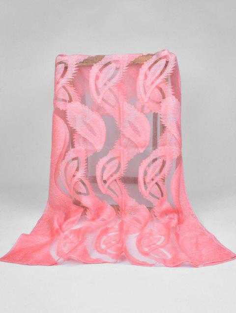 Elegant Feather Embellished Long Sheer Scarf - HOT PINK