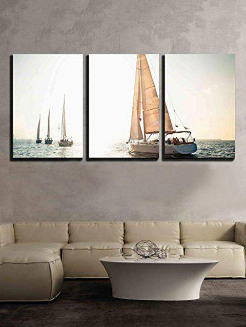 Ocean Sailing Boat Print Unframed Canvas Paintings - multicolor 3PC:16*24INCH(NO FRAME)