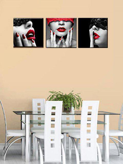 Blindfolded Beauty Print Unframed Canvas Paintings - multicolor 3PC:16*16 INCH( NO FRAME )