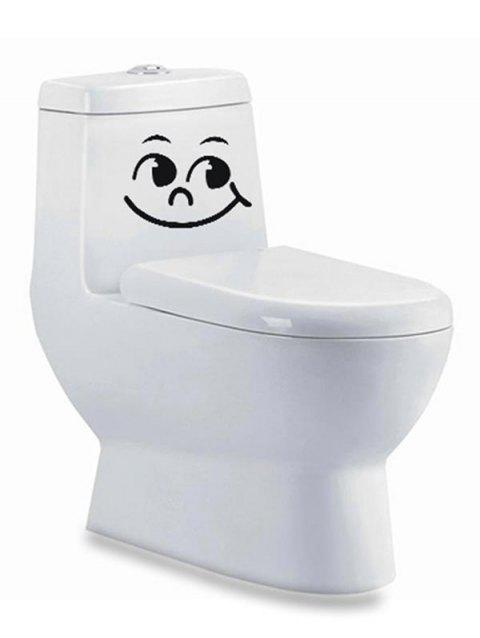 Emoticon Smile Face Pattern Toilet Sticker - BLACK