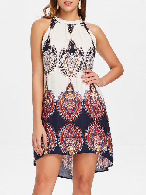 Ethnic Print High Low Mini Dress - DEEP BLUE S