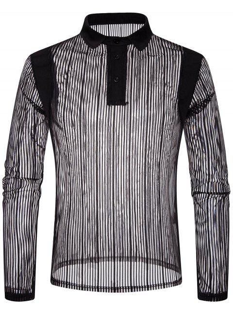 Solid Color Patch Detail Striped Mesh Polo Shirt - BLACK L