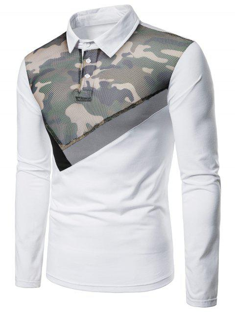 Mesh Camo Fabric Stripes Patchwork Long Sleeve Polo Shirt - WHITE M