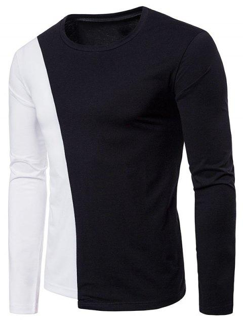 Two Tone Patchwork Casual T-shirt - BLACK XL