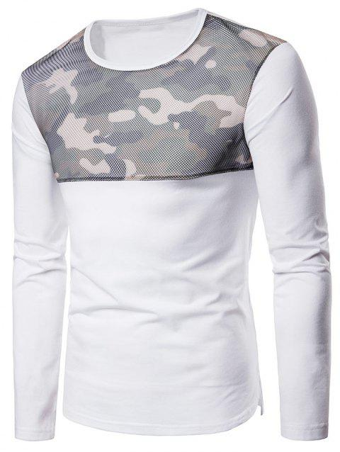 Camouflage Mesh Patchwork Casual T-shirt - WHITE L
