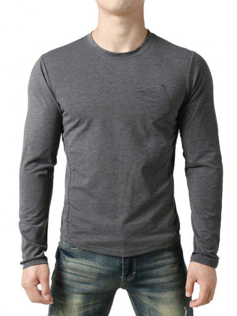 Seam Detail Chest Pocket Casual Long Sleeve T-shirt - GRAY WOLF S