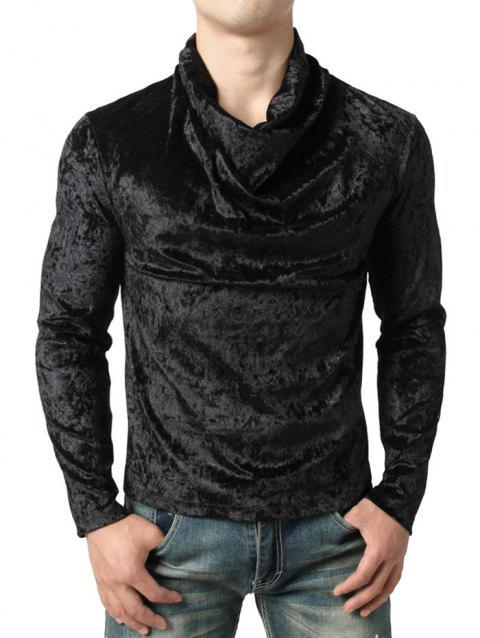 Solid Color Cowl Neck Velvet T-shirt - BLACK L
