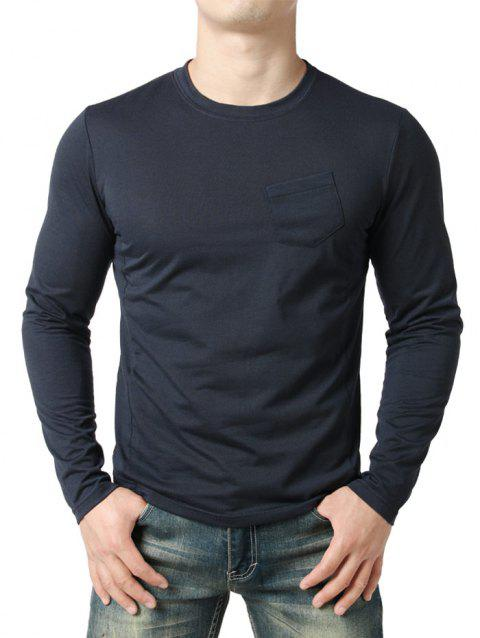 Seam Detail Chest Pocket Casual Long Sleeve T-shirt - NAVY BLUE L