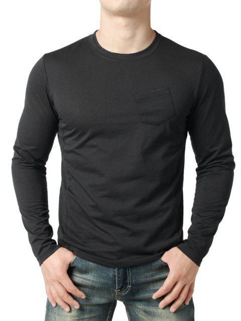 Seam Detail Chest Pocket Casual Long Sleeve T-shirt - BLACK XL