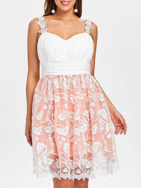 Embroidered Color Block Flare Dress - WHITE M