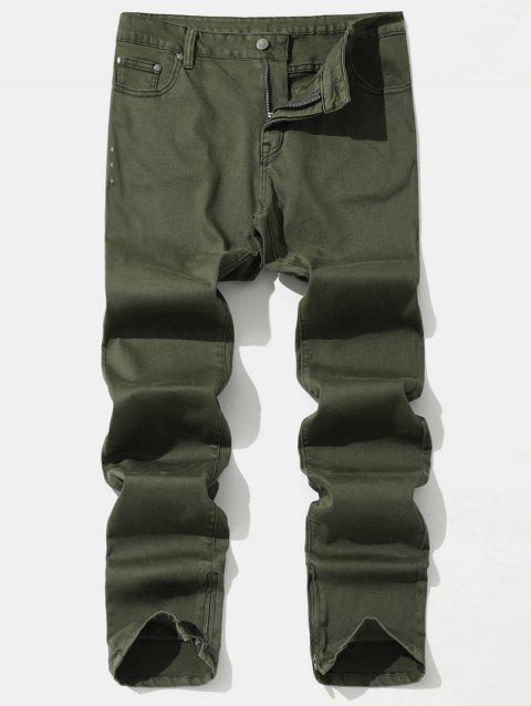 Taper Fit Solid Color Zip Hem Jeans - ARMY GREEN M
