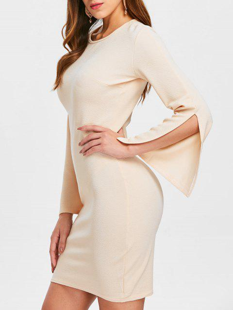 Mini Sleeve Slit Slim Fit Dress - LIGHT KHAKI XL
