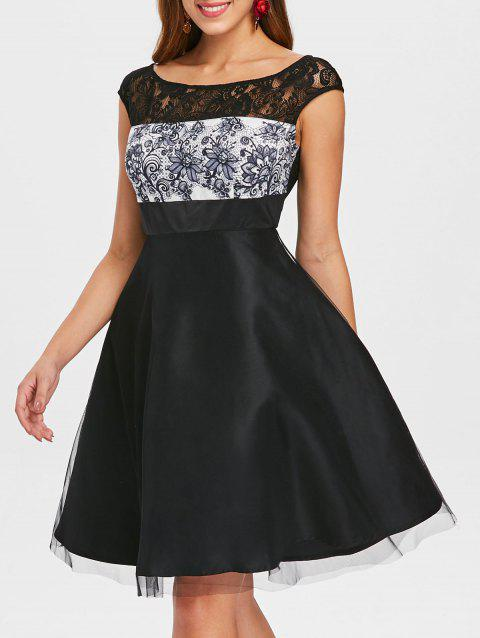 Back Slit Cap Sleeve Lace Trim Dress - BLACK M