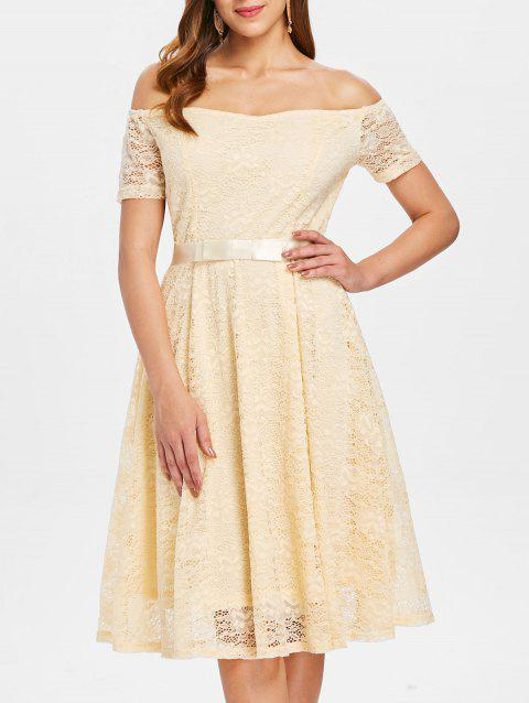 Off The Shoulder Lace Party Dress - CORNSILK L